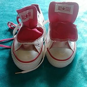 Pink and White Converse Womens/Men